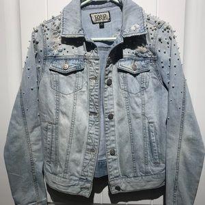Bke faux pearl denim jacket